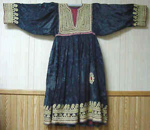 museum quality rare antique turkmen tribal dress gold thread embroidery 42325