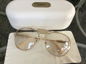 Chloe Designer Aviator Sunglasses Beige Gold Leather Trim Light Tint Case France