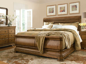 4 Piece Pennsylvania House Solid Wood King Size Sleigh Bed Set