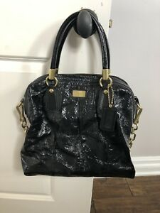Coach Patent Leather  Shoulder Handbag Black