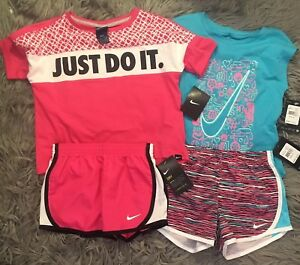 Nike Girls 2 Outfit Lot 4 Pieces Shorts Shirts NWT Pink Blue Running Athletic