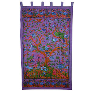 Purple Tree of Life Indian Bohemian Cotton Tab Top Panel Curtain Window Covering