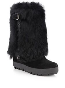 PRADA Womens Black Shearling Fur Suede Platform Wedge Boots 41  11 Net-a-porter