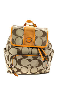 Coach Womens Leather Trim Beige Travel Backpack Brown Size Small