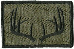 Hook Compatible Fastener Compatible Hunting Wildlife Antlers Olive 3x2quot;