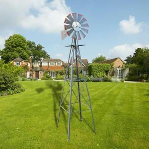 8ft Ornamental Decor Garden Windmill Weather Vane Galvanized w Silver Red Tips
