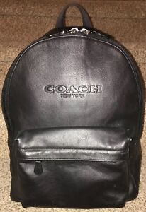 100% AUTHENTIC Coach Men PEBBLE LEATHER CHARLES BLACK BACKPACK