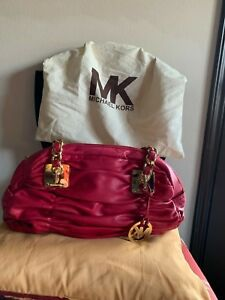 Michael Kors soft red ruched leather handbag w gold hardware
