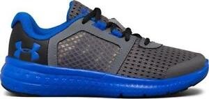 Boy's Youth UNDER ARMOUR FUEL 1285439 Gray+Blue AthleticCasual Sneakers NEW