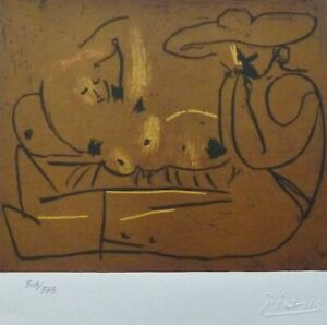 PABLO PICASSO Lying Woman and Man.... HAND NUMBERED 308333 signed LITHOGRAPH $195.00