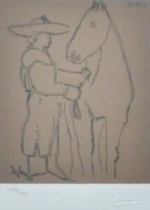 PABLO PICASSO picador and horse HAND NUMBERED 216333 signed LITHOGRAPH