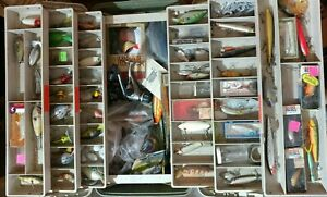 Vintage 6 Tray Tackle Box Loaded with Fishing Lures Reel & Tackle