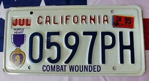 1995 CALIFORNIA COMBAT WOUNDED PURPLE HEART VETERAN LICENSE PLATE