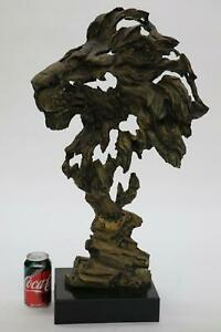 Large Abstract Surreal LION Head Bronze Bust Sculpture Statue on Marble Base 27