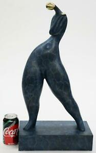 Art Deco Abstract Modern Bronze Metal Sculpture Curvy Full Figure Dancer 23