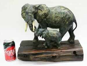 Green & Gold Patina Bronze Metal Sculpture of Mother Elephant & Calf on Wood Bas