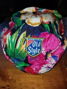 Old Style Beer Hat Vintage Newsboy Cap  *Bright Flowers Tropical*  RARE