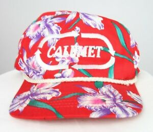 VTG Calumet San Sun Floral Hawaii Tropical Rope Snap Back Hat Cap Trucker