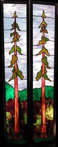 2 Beautiful Stained Glass PanelsDoors Redwood Tree Design