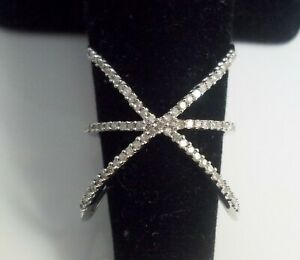 10kt Solid White Gold .33ctw Natural Diamond Criss Cross Designer Ring