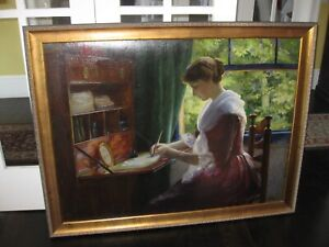 Calif Artist Alice B Ring  Woman at Writing Desk:Interior With Sunlight 51