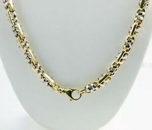 65 gm 14K Two Tone Gold Men's Bullet Semi-Hollow Chain Necklace 26