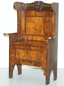 EARLY VICTORIAN SOLID BURR WALNUT PEW SEAT LION CARVED WOOD CHAIR UNDER STORAGE