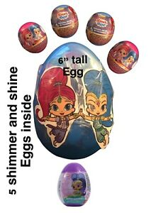 """New 6"""" PLASTIC SURPRISE EGG W/5 Surprises!Shimmer And Shine Eggs With Figures"""