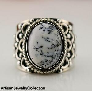 DENDRITIC OPAL & 925 STERLING SILVER RING JEWELRY SIZE 9  Y999A