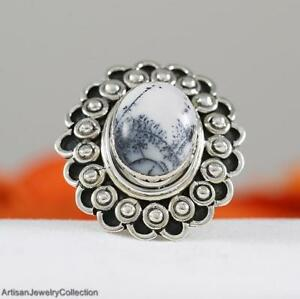 DENDRITIC AGATE & 925 Sterling Silver RING Size ~7.5