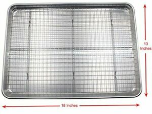 Checkered Chef Baking Sheet and Rack Set - Aluminum Cookie Sheet Half Sheet Pan
