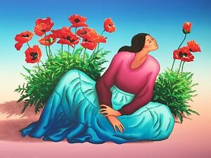 RC Gorman Signed Limited Edition Woman with Poppies Lithograph 32x24 Vintage
