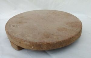 1850's HANDMADE HEAVY ROUND WOODEN ROLLING PIN CHAPATI ROLLING BOARD B2