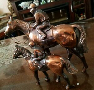 Two Bronze Horses With Riders Statues $99.99