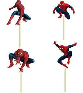 Spiderman Birthday Decoration Theme - Cupcake Spider-Man Toppers Picks 24 pcs i