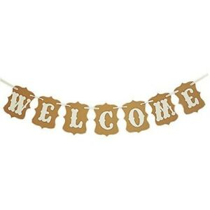 ASIDIY Welcome Party Banner Wedding Birthday Bunting Sign Home Decorations Wedd