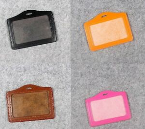 Durable Leather Horizontal Photo Name ID badge Holder Free Ship