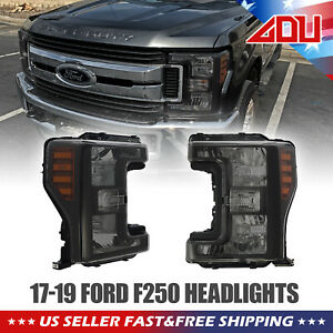 FOR 2017-19 F250F350F450F550 GLOSSY BLACK HALOGEN TYPE HEADLIGHTS REPLACEMENT