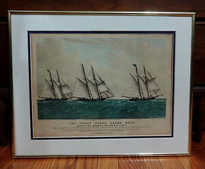 Antique 1867 Currier & Ives Litho The Great Ocean Yacht Race 20