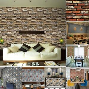 3D Wall Paper Brick Stone Mural Effect Self-adhesive Wall Sticker Home Decor US