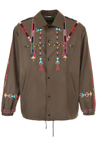 Valentino jacket with ethnic embroidery PV0CJ2534WR Army - Authentic