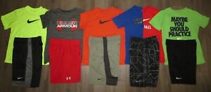 Lot 11 Boy's UNDER ARMOUR NIKE Dri-Fit T-Shirts Athletic Shorts YLG Large 1416
