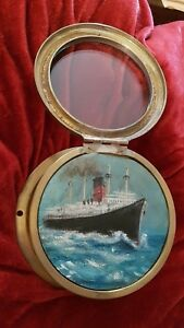 Antique 1930's Ships clock case with original oil painting of a liner