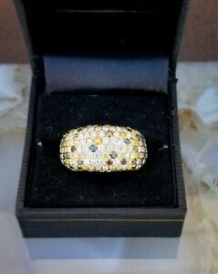 3.5ct Fancy Yellow 18k Yellow Gold Diamond Pave Eternity Ring Band size 7 VIDEO