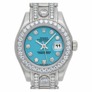 Rolex  Ladies Pearlmaster 69299 18k White Gold Factory Diamonds Turquoise dial
