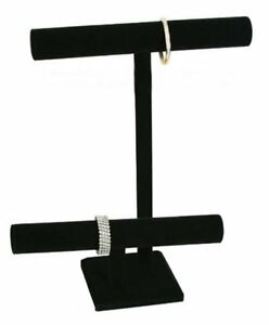 2x Black Velvet 2 Tier T-Bar Jewelry Necklace Display Tennis Bracelet Stand