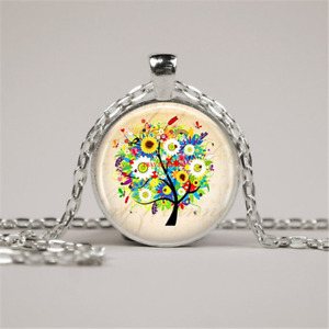 Tree Necklace Tree Art Jewelry Cabochon Glass Silver Chain Pendant Necklace $1.89
