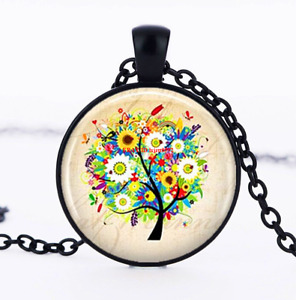 Tree Necklace Tree Art Jewelry Cabochon Glass Black Chain Pendant Necklace $1.89