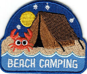 BEACH CAMPING Iron On Patch Scouts Camp Cub Boy Girl