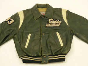 Redskins Vintage Casual Leather Jacket Teddy L.a.University Green Sz: M Rare
